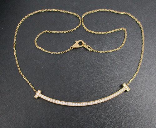 สร้อยคอ เพชรแถว ครึ่งหน้า เพชร 43 เม็ด 0.54 กะรัต ทอง18K สี Pink gold งานสวยมาก นน. 5.90 g