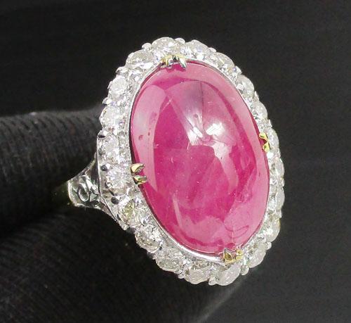 แหวน ทับทิม พม่า หลังเบี้ย ล้อมเพชรเกสร 20 เม็ด 0.80 กะรัต ทองK 2 สี งานสวยมาก นน. 5.38 g