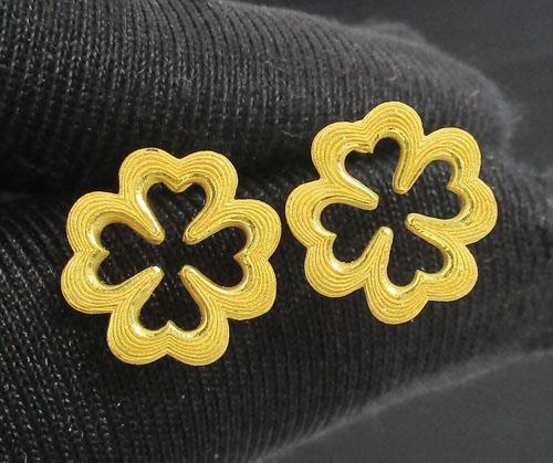 ต่างหู Prima Gold ทอง24K ลายดอก Lucky แป้นทอง14K งานสวยมาก นน. 3.79 g
