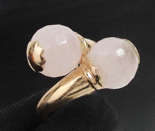 แหวน โรสควอตซ์ เม็ดกลม ไขว้ นาก40 งานสวยมาก นน. 5.46 g