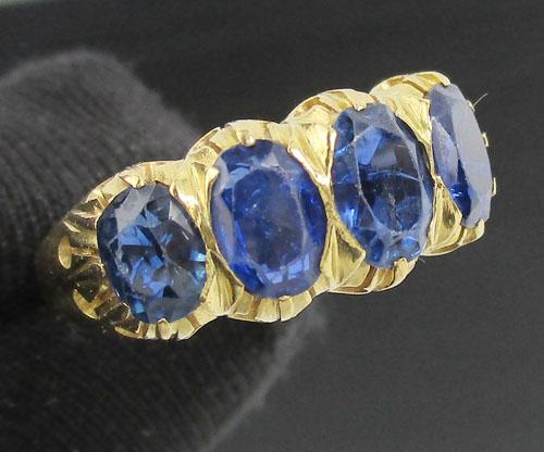 แหวน ไพลิน ข้อมะขาม 4 เม็ด ทอง90 งานเก่า หลุดจำนำ สวยมาก นน. 5.74 g