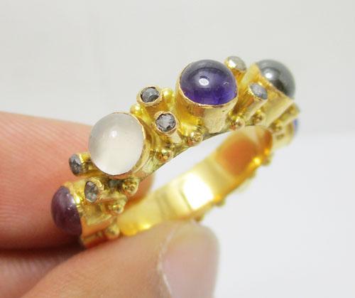 แหวน พิรอด นพเก้า ฝังเพชรซีก ทอง90 งานโบราณ สวยมาก Size 54.5 นน. 7.35 g