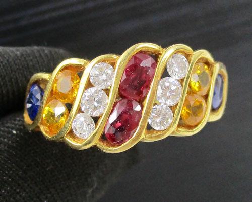 แหวน ทับทิม ไพลิน บุษราคัม ฝังเพชร 6 เม็ด 0.40 กะรัต งานสวยมาก นน. 6.76 g