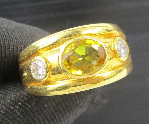 แหวน บุษราคัม ฝังเพชร 2 เม็ด 0.20 กะรัต งานทอง90 หลุดจำนำ นน. 8.14 g