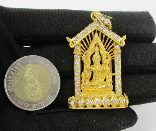 รหัสสินค้า 042388 พระพุทธชินราช เนื้อทองคำ กรอบทอง ฝังเพชร 40 เม็ด 1.38 กะรัต นน. 29.12 g 2