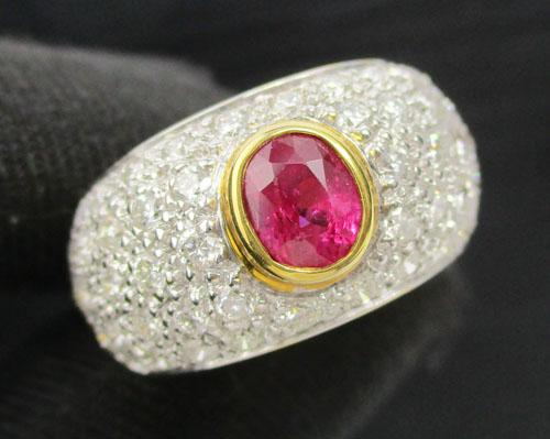 แหวน ทับทิมพม่า ฝังเพชร 5 แถว 50 เม็ด 1.00 กะรัต ทอง18K งานสวยมาก นน. 7.94 g
