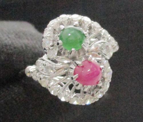 รหัสสินค้า: 47296 แหวน ทับทิม มรกต หลังเบี้ยไขว้ ล้อมเพชรกุหลาบ 26/0.30 ct งานทองขาว(ปาหะ) นน.3.34 g