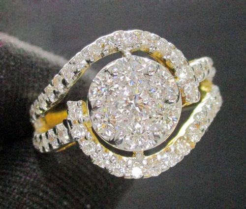 แหวน เพชรกระจุกกลม 7/0.70 ct ล้อมเพชร 46/0.80 ct ทอง90 งานสวยมาก นน. 6.97 g