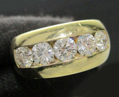แหวน เพชรแถว ฝังสอด 5 เม็ด 1.00 กะรัต ทอง90 หลุดจำนำ งานสวยมาก นน. 5.08 g