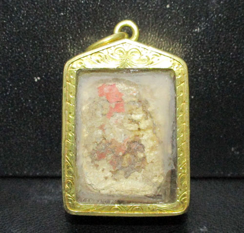 พระผงของขวัญ วัดปากน้ำ เนื้อผง เลี่ยมทองเก่า ปิดหลัง นน. 7.54 g 1