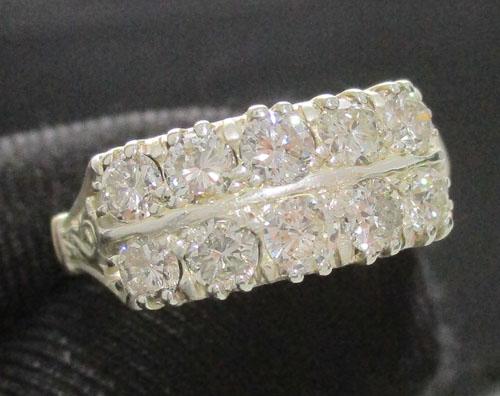 แหวน เพชรเกสร 2 แถว เพชร 10 เม็ด 1.00 กะรัต ทองK 2 สี งานเก่า หลุดจำนำ สวยมาก นน. 3.00 g