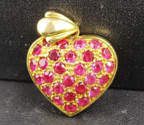 จี้ ทับทิมพม่า เจียร หัวใจ ทอง90 งานสวย น่ารักมาก นน. 8.75 g