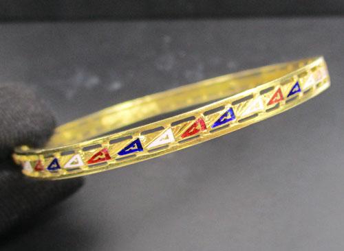 รหัสสินค้า 042928 กำไล ทองลงยา ฉลุายธงชัย ทอง 90 รอบวง ทองเก่า งานโบราณ สวยมาก นน. 7.96 g