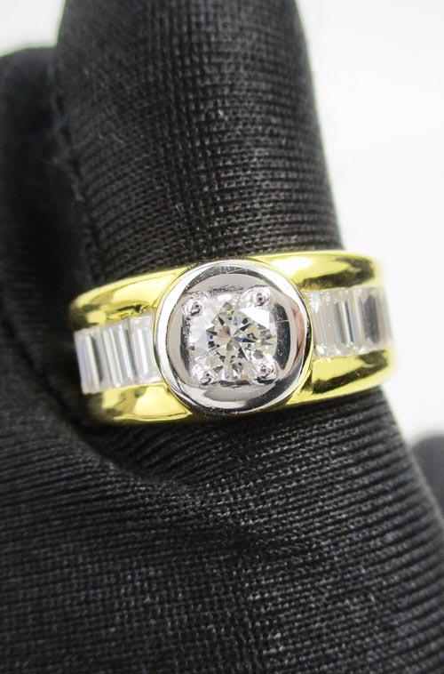 แหวน เพชรเดี่ยวชู 0.38 ct ฝังเพชรแทปเปอร์ 8/0.64 ct ทอง90 หลุดจำนำ งานสวยมาก นน. 11.82 g 3