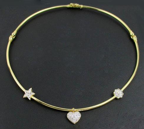 โช๊คเกอร์ อิตาลี750 ทอง18K คั่นเพชรลายดาว ดอกไม้ หัวใจ ตุ้งติ้ง เพชร 51 เม็ด 0.76 กะรัต นน. 15.44 g