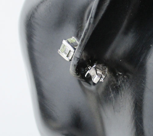 ต่างหู เพชรเดี่ยว Princess 1 เม็ด 1.02 กะรัต ทอง90 ชุบขาว เพชรสวยมาก นน. 1.51 g 3