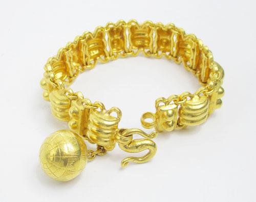 สร้อยข้อมือ ทอง100 ลายลูกคิด เม็ดกลม รอบเส้น ทองเก่า งานโบราณ สวยมาก นน. 60.75 g 2