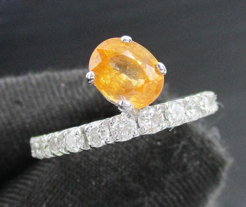 แหวน บุษราคัม เจียร ฝังเพชรแถว 14 เม็ด 0.50 กะรัต ทอง18K งานดีไซน์สวย นน. 2.50 g