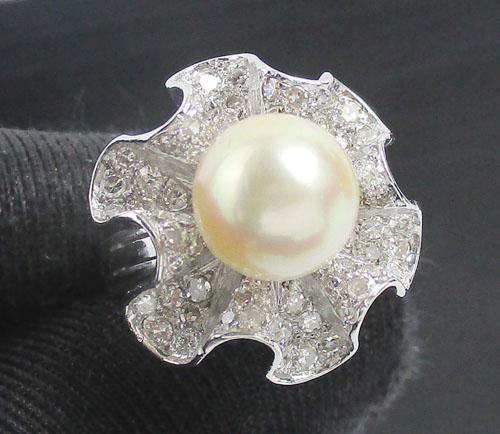 แหวน มุก สีขาว 9 มิล ฝังเพชรกุหลาบ 72/0.90 ct งานทองขาวโบราณ(ปาหะ) นน. 6.84 g
