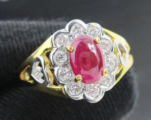 แหวน ทับทิม หลังเบี้ย ล้อมเพชร 12 เม็ด 0.34 กะรัต ทอง90 งานเก่า  นน. 5.80 g