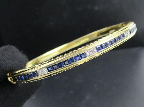 รหัสสินค้า: 50659 กำไล ไพลินแถว คั่นเพชร Princess 6 เม็ด 0.30 กะรัต ทอง18K หลุดจำนำ นน. 20.46 g