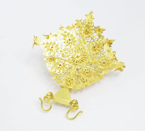 จี้ อุบะ 3 สี 9 ยอด + เข็มกลัด ทับทิม มรกต เพชรซีก ระย้า ตุ้งติ้ง ทอง90 แบบงานโบราณ นน. 43.74 g 1