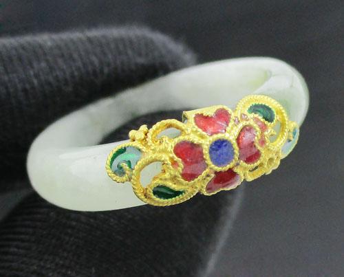 แหวน หยก หน้าทองลงยา ทอง96.5 งานสวยมาก size 60 นน. 3.79 g