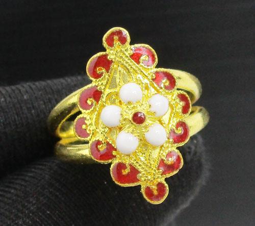 แหวน ทองลงยา ลายดอกไม้ ทรงมาคีย์ ทอง96.5 งานสวยมาก นน. 7.62 g