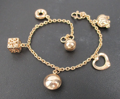 สร้อยข้อมือ ช้าง หัวใจ โดนัท ฉลุลาย กระพรวน ตุง้ติ้ง Pink gold ทอง9K งานสวยมาก นน. 8.08 g