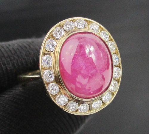 แหวน ทับทิม พม่า ล้อมเพชร 18 เม็ด 0.54 กะรัต ทอง18K พร้อม Cert. นน. 4.27 g