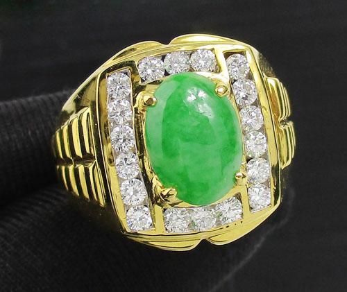 แหวน หยก หลังเบี้ย ล้อมเพชร 18 เม็ด 0.72 กะรัต ทอง90 งานสวยมาก นน. 12.98 g