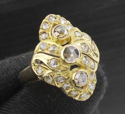 แหวน เพชรซีกลูกโลก ทรงมาคีย์ ฉลุลาย ทอง90 งานสวยมาก นน. 6.44 g