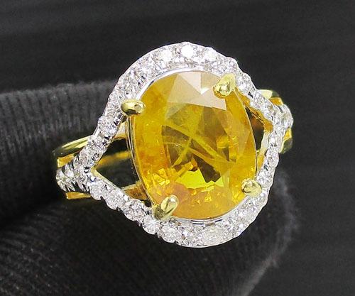 แหวน บุษราคัม บางกะจะ 4.30 กะรัต ฝังเพชรไขว้ 32 เม็ด 0.32 กะรัต ทอง90 พร้อม Cert. นน. 6.36 g