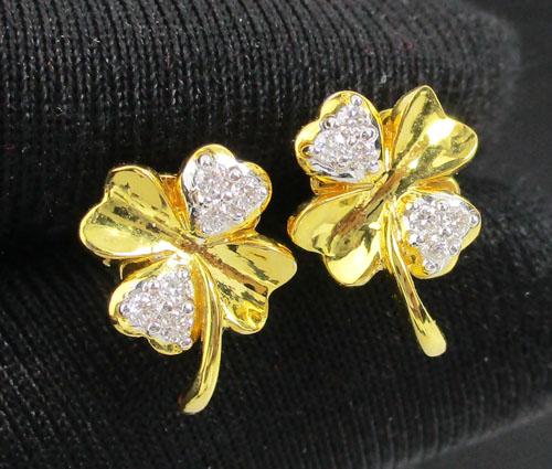 ต่างหู เพชร ลายดอกไม้ เพชร 12 เม็ด 0.13 กะรัต ทอง90 งานสวยมาก นน. 3.33 g
