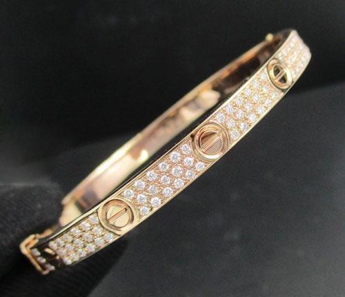 กำไล คาร์เทียร์ ฝังเพชร ครึ่งหน้า เพชร 80 เม็ด 0.60 กะรัต Pink gold ทอง18K งานสวยมาก นน. 14.32 g