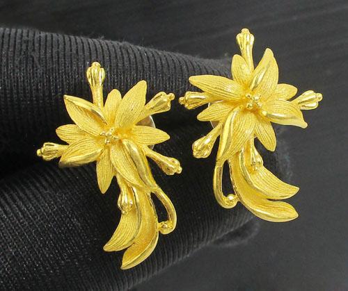ต่างหู Gold Master ทอง24K ลายดอกไม้ แป้นทอง14K งานสวยมาก นน. 8.37 g