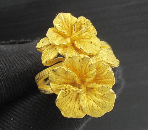 แหวน Prima Gold ทอง24K ลายดอกชบา งานสวยมาก นน. 10.29 g