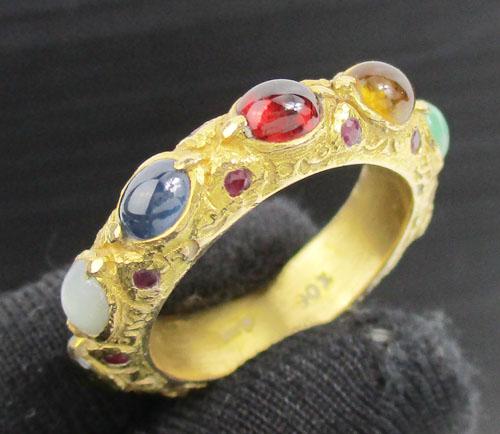 แหวน พิรอด นพเก้า ฝังทับทิม รอบวง ทอง90 งานเก่า หลุดจำนำ สวยมาก นน. 7.72 g