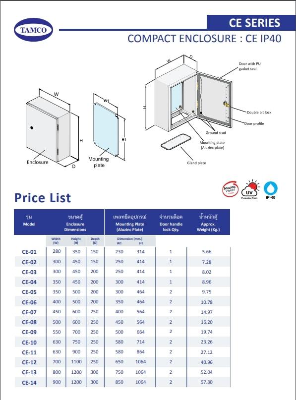 TAMCO รุ่น CE-10 IP40 ราคา 1,519 บาท