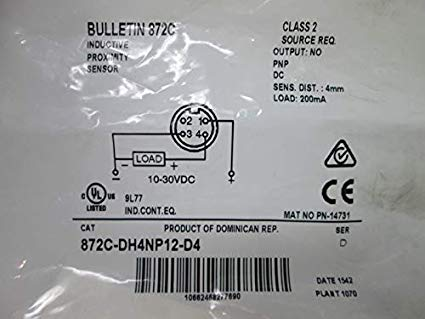 ALLEN BRADLEY PROXIMITY 872C-DH4NP12D4 ราคา 1620 บาท