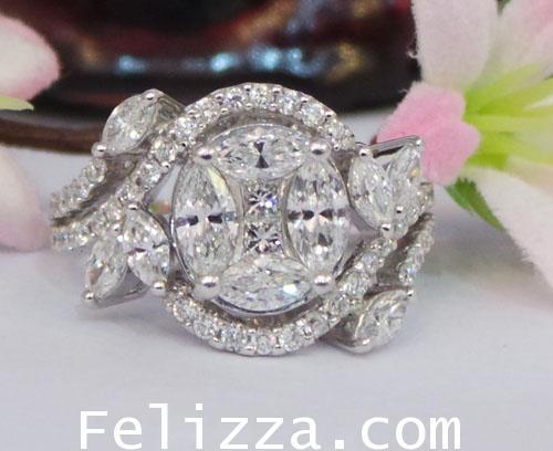 แหวนเพชรแท้เบลเยี่ยมคัท RI00046-10 (HMPO)