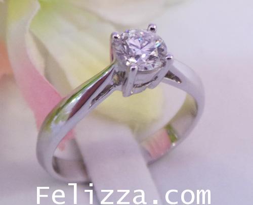 แหวนเพชรแท้เบลเยี่ยมคัท(ใบรับประกัน GIA) RI00419-171 (EHSO)