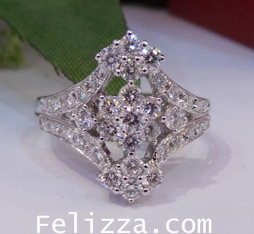 แหวนเพชรแท้เบลเยี่ยมคัท RI00279-73 (DKSX)