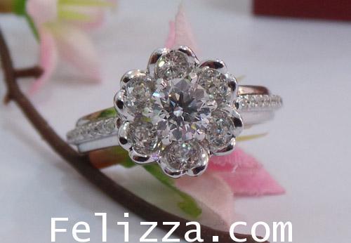 แหวนเพชรแท้เบลเยี่ยมคัท พร้อมใบเซอร์ GIA RI00275-67 (ENEZX)