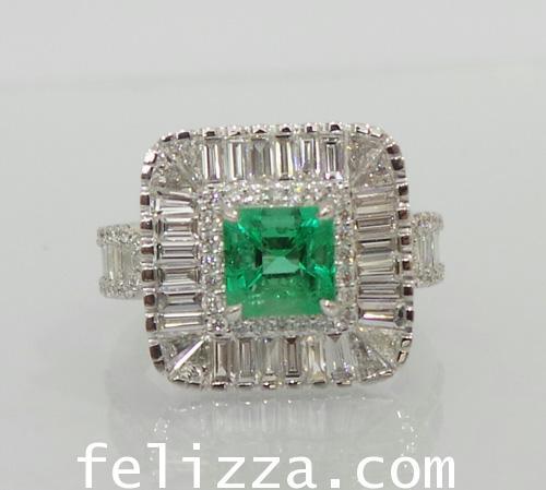 แหวนมรกต (โคลัมเบีย)ล้อมเพชรแท้เบลเยี่ยมคัท  RI00459-211 (HAXO)