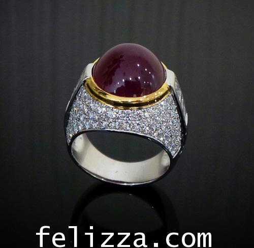 แหวนทับทิมพม่าหลังเบี้ย ประดับเพชรแท้เบลเยี่ยมคัท RI20514-218
