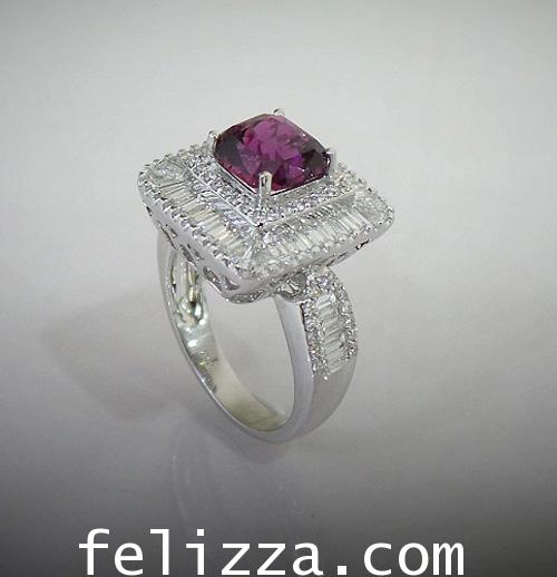 แหวนพลอยประดับเพชรเบลเยี่ยมคัท RI20513-218