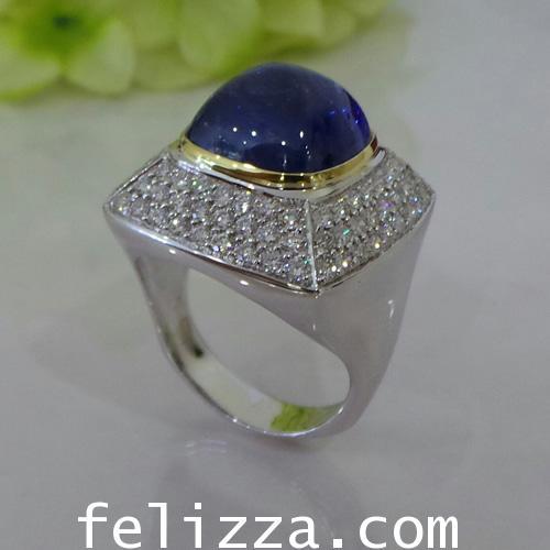 แหวนพลอยไพลิน ประดับเพชรแท้เบลเยี่ยมคัท RI20335-118
