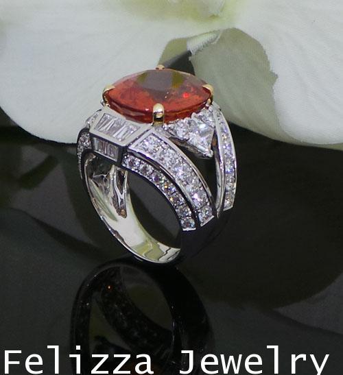 แหวนพลอยซองเจียสีส้ม ประดับเพชรแท้เบลเยี่ยมคัท RI20524-230
