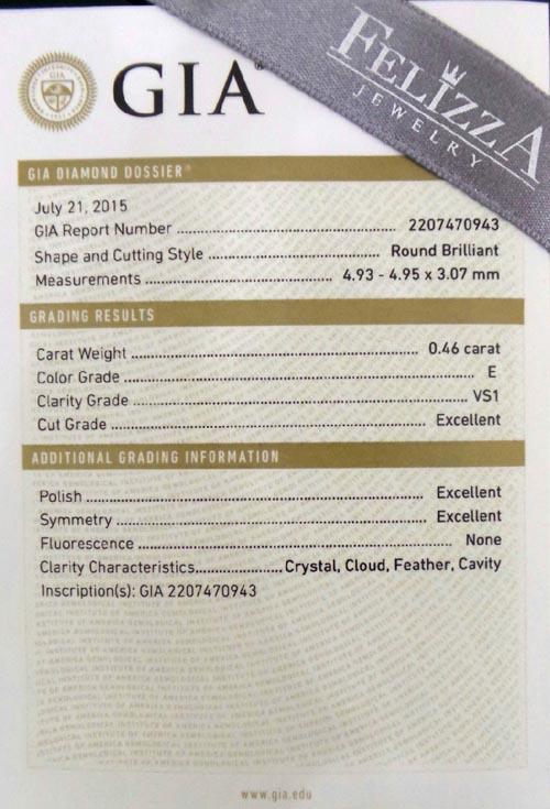 เพชรร่วงใบเซอร์ GIA 0.46 ct. E/VS1,3EX  (D0005)